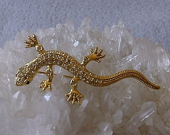 Lizard Pin Brooch, by The Sphinx Company for Butler and Wilson, Vintage 1980's Dazzling Book Piece