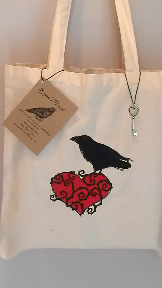 Raven Emboidery Tote Bag Cotton Canvas Embroidery