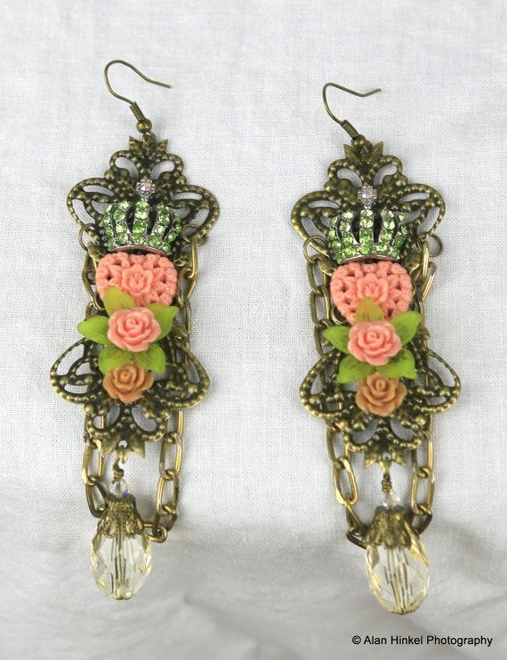 Chandelier Couture  Earrings by Bridget Blue Queen of Hearts Beautiful Chandelier Romantic Heart Crown Gypsy Boho Victorian
