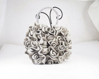 Felted Bag Flower handbag Roses purse felt nunofelt nuno felt silk eco gray grey ash fog silver fog fairy floral fantasy Fiber Art boho