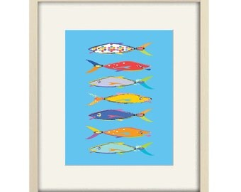 fish wall art, blue bathroom decor, kids bathroom art, fish print, beach house art, coastal art, childrens wall art, beach art, abstract art