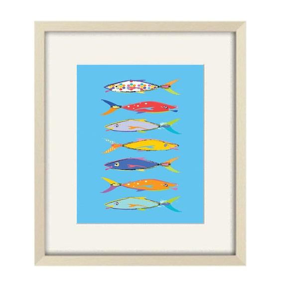 fish wall art blue bathroom decor kids bathroom art fish. Black Bedroom Furniture Sets. Home Design Ideas