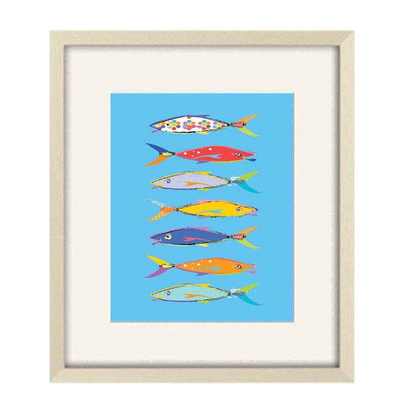 Fish Wall Art Blue Bathroom Decor Kids Bathroom Art Fish
