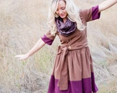 Color Block Dress, Brown and Purple - TeakaMarie