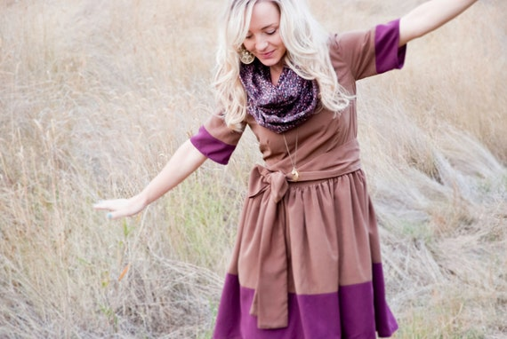 SALE! Color Block Dress, Brown and Purple