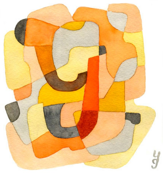 Letter Y Abstract Art Print Home Decor Mid Century Modern Mustard Yellow Orange Gray Red 8 x 10