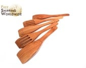 Wooden Spatulas SET of 5 - Three Regular and Two Slotted Spatulas from Cherry wood