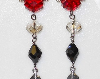 Medieval/Gothic Ruby/black and silver Fleur De Lis dangle Earrings