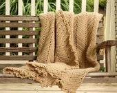 Hand Crochet Afghan khaki Lace Color