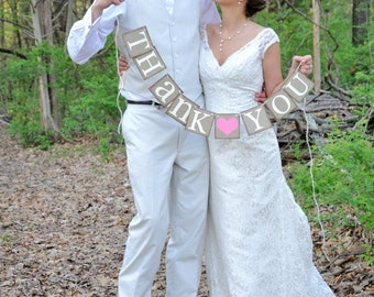 Thank You Sign - Rustic Wedding Banner Photo Prop - Wedding Sign - Wedding Decoration