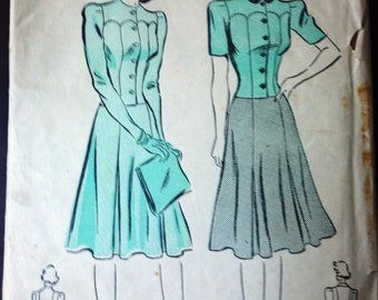 Advance 2368 Pattern for 2-Piece Dress or Suit, Size 12, From 1950s, Vintage Pattern, Home Sewing Pattern. 1950s Fashion Sewing