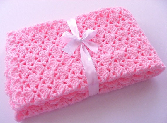 PDF Pattern Crocheted Baby Afghan, CAR SEAT Size and Newborn Size Blanket -- Pink Shells