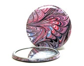 Marbled Pocket Mirror 7, Red White & Blue Mirror, Marbled Paper Mirror, Small Glass Mirror