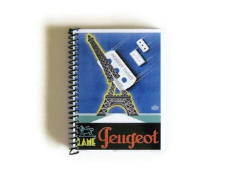 Eiffel Tower Cut A6 Blank Notebook, Pocket Sketchbook, Blue, Back to School, Diary Travel Writing Journal Spiral Bound Gifts Under 20