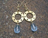 Eco-Friendly Dangle Earrings - And All That Jazz - Recycled Vintage Hammered Goldtone Metal Disks and Pale Blue Teardrop Crystal Beads