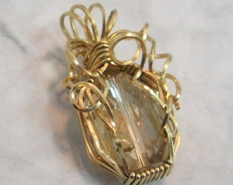 Golden Shadow Swarovski Crystal in 14K Gold Filled Wire Wrap Pendant Necklace