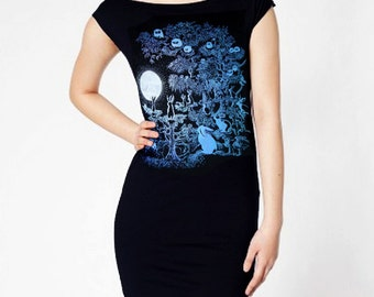 Owls and Jackalopes tshirt dress - eco blue and silver ink screenprint on black cotton - womens sizes S, M, L