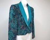 Vintage Jacket 1980s Turqoise Blazer Cropped Velour Floral Tuxedo Jacket Womens Vintage Boho Size 5