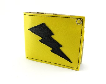 Lightning Bolt Wallet - Yellow and Black attack - Vegan - Take Care of some Business Son