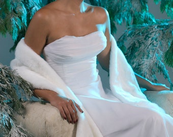 Winter wedding faux fur stole shawl wrap THREE rows wide Available in white, black, ivory or cream