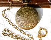 Steampunk Pocket Watch Brass Mandala Handmade Chain Roman Numerals Mechanical Skeleton Movement Wedding Best Man Groomsman Anniversary gift