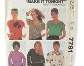 Easy Sew McCalls 7791 Summer Kimono Sleeve Knit Top Vintage Sewing Pattern Bust 40-42
