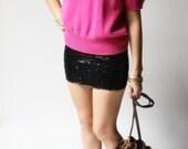 vintage 1970s sweater / 70s pink sweater / Darlene Hot Pink Sweater