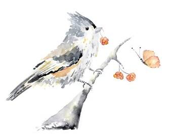 Peach bird print, Bird  Print, girl's nursery art, peach nursery art, Bird Watercolor Painting, Bird Art