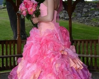 Stunning Pink Wedding Dress Ballgown Custom Made to your Measurements