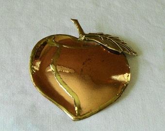 VINTAGE Copper Apple Hand Made Teacherd Gift ART JEWELRY Copper Brass Apple Brooch Copper Brass Large Apple Brooch Pendant Apple Art Jewelry