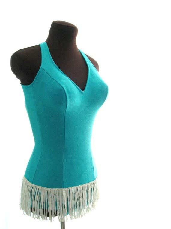 1960's DeWeese swimsuit / 60s vintage Deweese Designs aqua blue Swim Suit with White Hip Fringe & Jantzen bathing cap... size XS - M