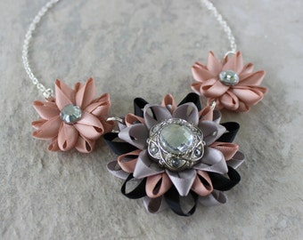 Statement Necklaces, Black, Silver, Blush Necklace, Blush Wedding Jewelry, Blush Bridesmaid Jewelry, Bridesmaid Necklace and Earrings Set