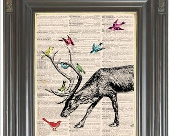 Reindeer antler bird wall art print Dictionary art print Digital art print Sheet music print Wall decor Christmas print COUPON SALE No. 237