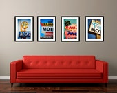 Staycation Set of Vintage Los Angeles Neon Motel Signs - Colorful Retro Wall Art - Googie Decor - Save 15-20% on Four Fine Art Photographs