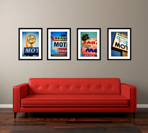 Staycation Set of Vintage Los Angeles Neon Motel Signs - Colorful Retro Wall Art - Googie Decor - Save 10-20% on Four Fine Art Photographs