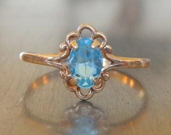 Vintage Blue Zircon Ring - Unique Engagement Ring Aquamarine - Stacking Ring - Blue Topaz - Vintage Engagement Ring - 1950s Ring-Blue Ring