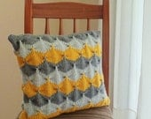 Pillow knit pattern Decorative geometric  tutorial PDF -  home decor  PHOTO tutorial knitting  elegance cushion - Instant DOWNLOA