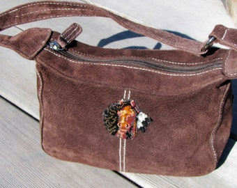 OOAK Up-Cycled Purse With Horse - Brown Suede Leather Handbag - Small Top Handle Purse - Horse Lover Gift Idea - Eco Friendly Spirit Horse