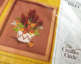 Tribal Stitchery Kits by The Creative Circle 1985 Unopened Craft Project in Brown, Mustard Yellow, Green, White Cattails Daisies Baskets