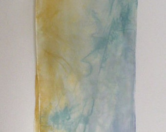Sky blue, leaf green and golden abstract design Silk scarf Abstract Hand Dye Painted