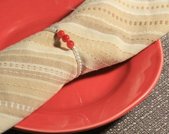 Carnelian Beaded Napkin Rings with White Pearls Set of Six