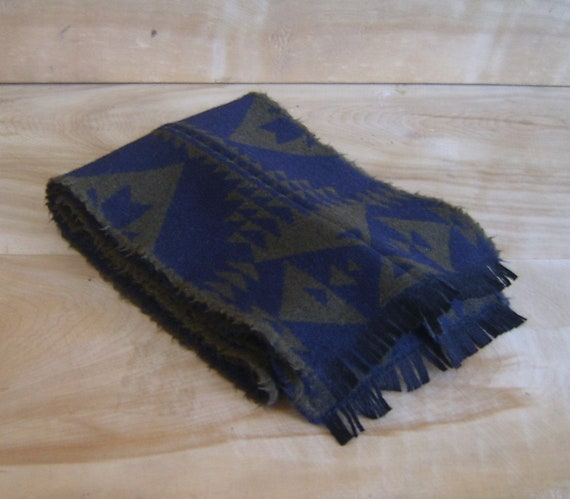 Wool Scarf - Navy Blue Arrow Native American Geometric