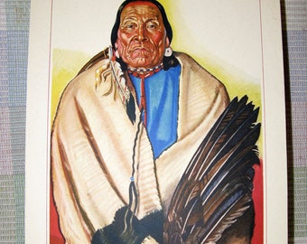 Vintage Winold Reiss Original Litho Print - Big Face Chief