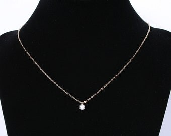 Solitary Cubic Zirconia Pendant Necklace , .925 Sterling Silver Chain Or 14k GOLD FILLED Chain, Wedding, Bridesmaid Gift