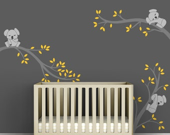 Children's Wall Decal Gray and Yellow Kids Room Wall Decor - Koala Tree Branches by LittleLion Studio