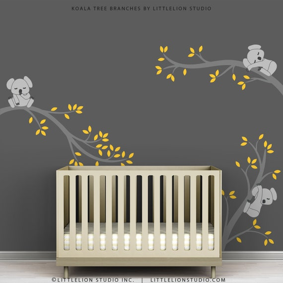 Yellow And Green Kids Room Ideas: Children's Wall Decal Gray And Yellow Kids Room Wall Decor