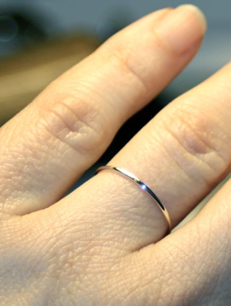 Ultra Thin Wedding Band White Gold Wedding Ring 1mm Skinny