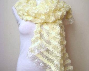 Cream Wedding Shawl - Shiny Rectangular Ivory Crochet Shawl - GIFT for HER