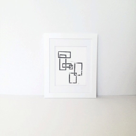 Geometric Rectangles Linocut Mid Century Modern PRINT Black Squares 8x10