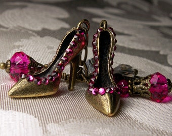 Hot Pink High Heel Marilyn Monroe Earrings, Fuchsia Crystal Shoe Charm Hollywood Glamour Earrings Antiqued Gold, Titanic Temptations Jewelry
